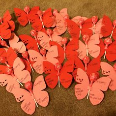 Home made valentines for students from teacher