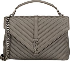 Women's Purses : Saint Laurent Monogram Large Shoulder Bag at Barneys New York - Fashion Inspire Saint Laurent Purse, Saint Laurent Handbags, Shoulder Strap Bag, Large Shoulder Bags, Grey Purses, Purses And Bags, Ysl Handbags, Designer Crossbody Bags, Designer Bags