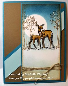 Deer in the Moonlight Card created by Michelle Zindorf using Stampin' Up! Products - In the Meadow