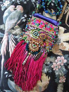 Ecstasy Bag, Cross Body, Antique Embroidered, Velvet, Silk, Bohemian Gypsy