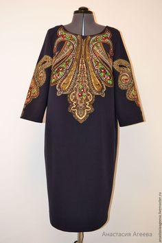 """Купить Платье с аппликацией """"Царевна-Лягушка""""- Плюс. - тёмно-синий, орнамент, платье из платка"""