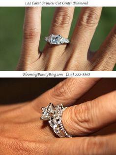 Large Princess cut d Large Princess cut diamond engagement ring with almost 4 carats total weight of beautiful diamonds! #PrincessCut #EngagementRing