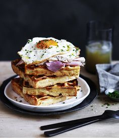 Cheesy polenta waffles with fried egg and ham :: Gourmet Traveller