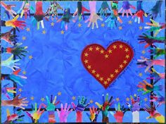 could be a painting, could be a quilt. I like the idea that each kid  not only uses their hand, but also colors it.