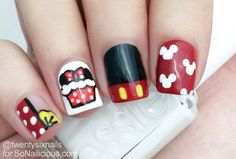 Minnie Mouse Cupcake Nails. Don't even care for the mouse family, but these are cute!