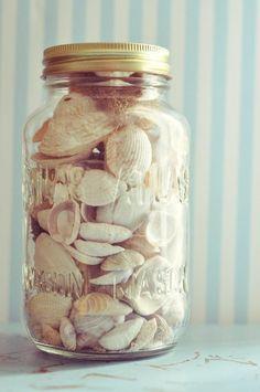 Shells in a mason jar. A great way to display seashells. paint lids fun colors