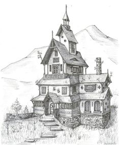 Stave Church House Fantasy Landscape Medieval