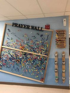 Use a space on your walls to put up a prayer wall like this Using fabric scraps tissue paper or anything lightweight and flexible and give each colUs… – Preteen Clothing Youth Room Church, Youth Ministry Room, Youth Group Rooms, Kids Church Rooms, Church Nursery, Youth Group Names, Kids Church Decor, Youth Group Activities, Ministry Ideas