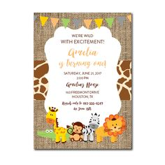 Free Printable Editable PDF Birthday Party Invitation DIY - Safari Jungle Animals - Two Second - Happy Birthday Invitation Card, Birthday Invitation Templates, Safari Invitations, Diy Invitations, Safari Party, Jungle Party, Jungle Theme Birthday, Birthday Diy, Birthday Template