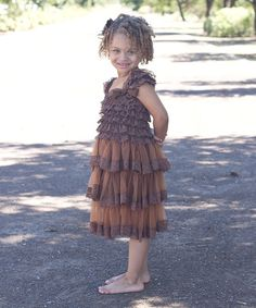 Another great find on #zulily! Brown Cap-Sleeve Dress - Infant, Toddler & Girls by Just Couture #zulilyfinds