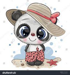 Cartoon panda on beach in a straw hat Royalty Free Vector - Cartoon Panda, Cute Cartoon Animals, Baby Animals, Cute Animals, Panda Love, Cute Panda, Panda Bear, Wallpaper Kawaii, Kids Cartoon Characters