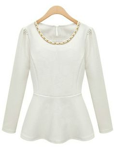 White Long Sleeve Ruffle Chain Embellished Blouse GBP£13.90