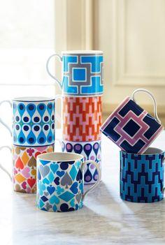 Retro-style mugs from Jonathan Adler