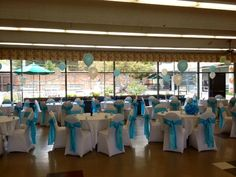 Our gorgeous White Spandex Chair Covers/Light Blue Crinkle Taffeta Sashes for a baby welcoming party! #spandex #chaircover #sash #taffeta #lightblue #blue #baby #party #baptism #fun #engagement #decor #bayarea #linens #bride #wedding #love www.bayarealinens.com