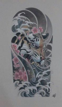 oriental tattoo black and grey \ oriental tattoo ; oriental tattoo black and grey ; oriental tattoo sleeve for men Japanese Tiger Tattoo, Japanese Tattoo Designs, Japanese Sleeve Tattoos, Sleeve Tattoos For Women, Tattoo Half Sleeves, Half Sleeve Tattoo Template, Japanese Tattoos For Men, Tattoo Templates, Tattoos For Guys