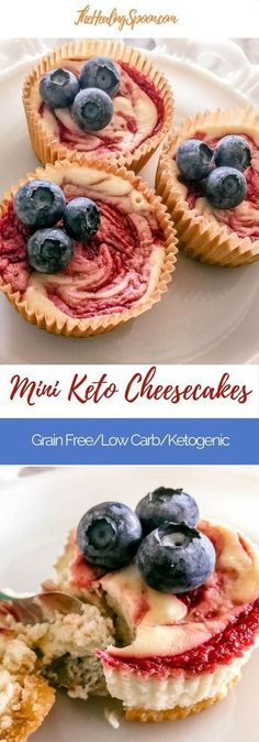 Mini low carb, gluten free, ketogenic cheesecakes. Perfect for any celebration!