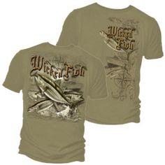 Wicked Fish Tuna Fishing T-shirt by Erazor Bits, Gray, L