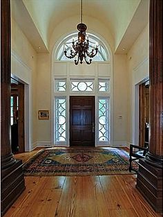 From blog Hooked on Houses - house on show Nashville - LOVE the door/window surround and LOVE the wide plank heart pine floors!!!!!