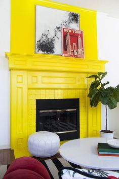 bright yellow painted fireplace, pantone meadowlark, lemon yellow