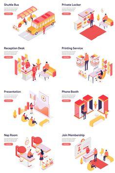 Office and Leisure Illustration for your next project Web Design, Layout Design, Logo Design, Infographic Website, Architecture Concept Diagram, Interior Design Presentation, Diagram Design, Isometric Design, Workplace Design