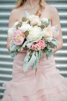 garden roses, pink peonies, dusty millers, and scabiosa pods ///// Photo: Angela Evan Photography, Florist: Bella Home Garden Bridal Bouquet Pink, Bridal Flowers, Wedding Bouquets, Wedding Wows, Floral Wedding, Chic Wedding, Rustic Wedding, Farm Wedding, Wedding Bells