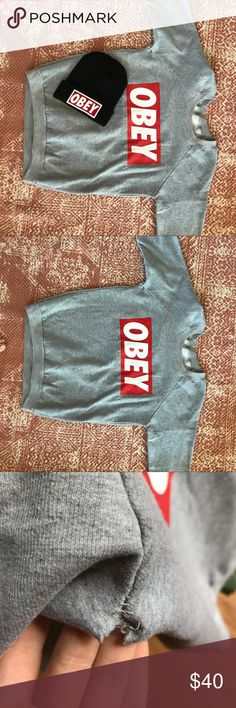 🎈OBEY🎈 Classic Grey Sweater Hey there! Show off your Cali streetwear cred with this ultra-classic Obey sweater! This is pre-loved, and there is a small hole under the armpit. If purchased I can sew it up myself, (free of charge) if you'd like. Happy shopping! Obey Sweaters Crew & Scoop Necks