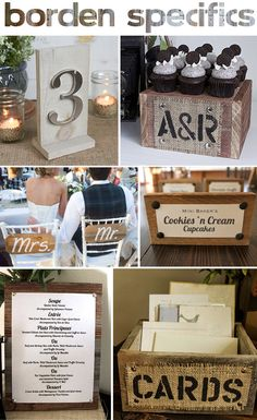 I like the 'cards' box idea. Find any old crate and put some burlap with printed letters on it. Perfect