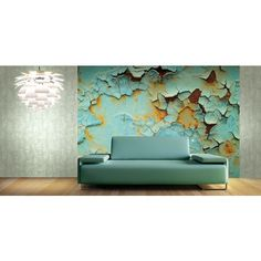 Seabrook Wallpaper CB42700M - Carl Robinson 4-Atmosphere - Chipped paint mural on a texture design wallcovering in a living room photo