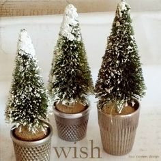 four corners design: eureka moment...tiny bottle brush trees + vintage thimbles = holiday joy