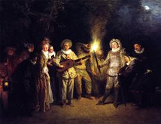The Italian Theater - Jean-Antoine Watteau - circa 1717