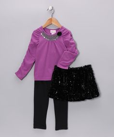 Take a look at this Black Sparkle Skirt Set - Infant, Toddler & Girls by Little Lass on #zulily today!