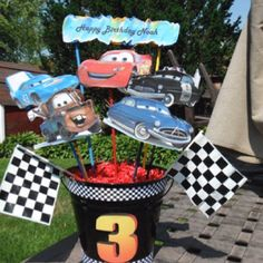 Cars Birthday party centerpieces