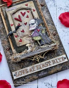 Halloween Paper Crafts, Halloween Cards, Halloween 2019, First Bite, Ranger Ink, Vintage Gothic, Mixed Media Artwork, Distressed Painting, Old Paper