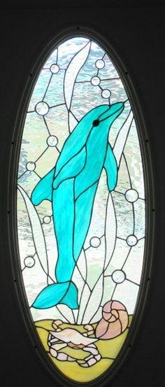 dolphin stained glass window .jpg (274×640) I would love this.