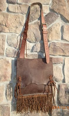 OOAK  kind hippie hobo bag/hand made leather by longshotleather