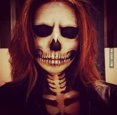 Everything about this skeleton makeup is absolutely amazing. Total perfection. Just set a new goal for myself…