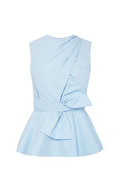 Draped-Bow Cotton Peplum Top by Prabal Gurung - Moda Operandi