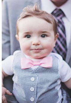 Short or Long Sleeve Black Seersucker Tuxedo Onesie Vest with Matching Pink Bow Tie
