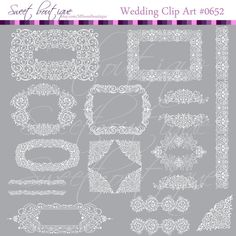 WHITE Digital Frames Calligraphy Clip Art by MSweetboutique, $5.99