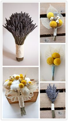 love these dried flower bouquets - a rustic alternative to fresh flowers!