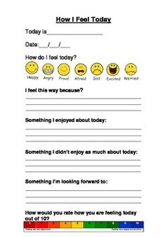 This resource can be printed double sided and aids children to reflect upon how they are feeling and healthy options within their day. Please check out some of our BEST SELLERS! Remember  Please follow our STORE!  Thank you WORKBOOKS  Just print!Behaviour and Feelings WorkbookSelf Esteem and  Feelings WorkbookEmotions & Self Care WorkbookMy Anger Management WorkbookSOCIAL SKILLS,  PUBERTY, PROTECTIVE BEHAVIOURS, RELATIONSHIPS AND SEXUALITYPuberty Lesson and Activity BookAppropriate V's Ap...