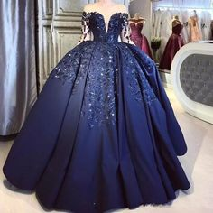 Fashion Long Sleeve Navy Blue Crystal Beading Ball Gown Prom Dress, Formal Women Dress T1809 Blue Ball Gowns, Ball Gowns Prom, Prom Party Dresses, Formal Dresses For Women, Formal Evening Dresses, Dress Formal, Sweet 16 Dresses, Blue Dresses, Navy Blue Quinceanera Dresses