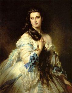 Lady with  blue bow ....:Winterhalter, Franz Xaver - Barbara Dmitrievna Mergassov Rimsky-Korsakova - 1864