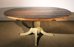 Use a a desk in the office - Reclaimed Barn Wood Oval Table, Ipswich Pedestal, Hazelnut Top, Fresh Cream Base, Rustic Distressing Reclaimed Wood Dining Table, Reclaimed Barn Wood, Wood Table, Barn Table, Oval Table, Round Dining Table, Dining Room Table, Kitchen Tables, Kitchen Cupboards