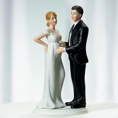 Expecting Couple Bride And Groom Cake Topper Celebrate not one but two important events on your wedding day with the charming pregnant bride and proud groom cake toppers.