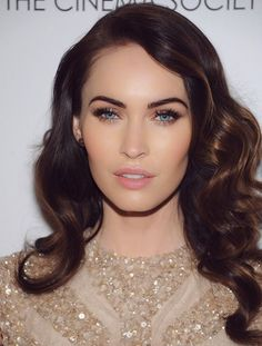 Gold and lush lashes. Megan Fox. Celebrity Inspired Wedding makeup look. http://www.aswanksoiree.com/