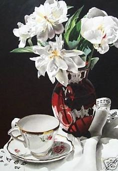 Still Life with Red Vase, painting by artist Jacqueline Gnott