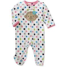 Child of Mine by Carters Newborn Girls' Dot Monkey Sleep n Play