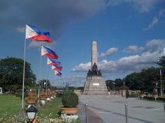 Another look at Jose Rizal's monument at Luneta (Rizal Park). Photo taken using iPhone on our way home from Manila Ocean Park yesterday (w. Rizal Park, Butterfly Pavilion, Jose Rizal, China Travel Guide, Red Houses, Ocean Park, Big Country, Famous Landmarks, Andalucia