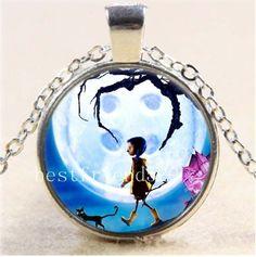 New Coraline Photo Cabochon Glass Tibet Silver Chain Pendant Necklace #Handmade #Pendant